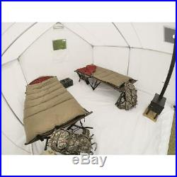 10 x 12 Canvas Wall Tent Bundle with Floor and Frame, Camp Cabin Outdoor Shelter
