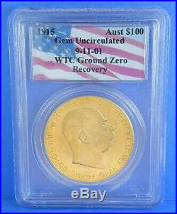 1915 WTC 911 Ground Zero $100 Corona Austria 1 Troy Oz Gold Coin GEM UNC PCGS