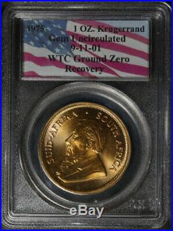 1975 1 Ounce Gold Krugerrand 9-11-01 WTC Ground Zero Recovery PCGS Gem Unc