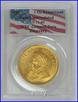 1980 Gold South Africa 1 Oz Krugerrand Wtc Ground Zero Recovery Pcgs Gem Unc