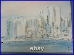1981 Original Signed Joe Barker Watercolor Painting Ny City World Trade Center