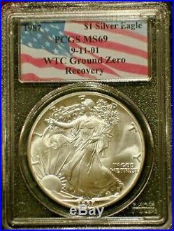 1987 911 American Silver Eagle Ms69 Wtc Ground Zero Recovery Rare Date
