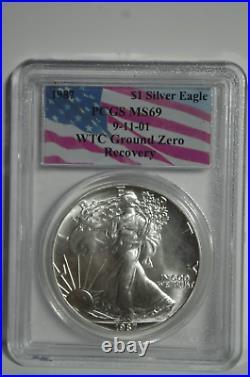 1987 American Silver Eagle PCGS MS69 WTC Ground Zero Recovery 9-11-01