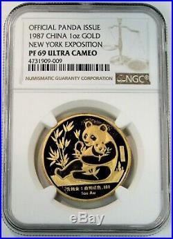 1987 Gold China Panda Sino-american Friendship New York Expo Wtc Ngc Pf 69 Uc