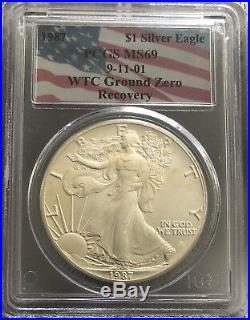 1987 Silver Eagle Ms69 Wtc Ground Zero Recovery (rare Date)