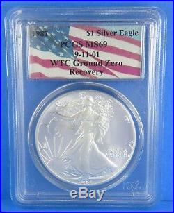 1987 WTC Ground Zero Recovery 9-11-01 American Silver Eagle PCGS MS69 Certified