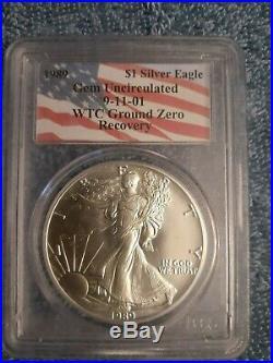 1989 911 American Silver Eagle Wtc Ground Zero Recovery Pcgs Gem Scarce