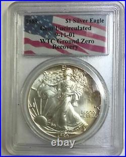 1989 American Silver Eagle WTC Ground Zero Recovery 9-11-01 PCGS Gem Unc