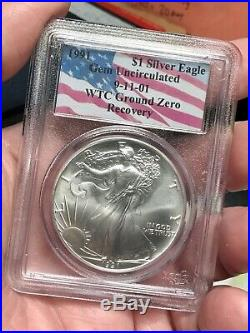 1991 $1 Silver American Eagle PCGS Gem Uncirculated WTC Recovery Ground Zero