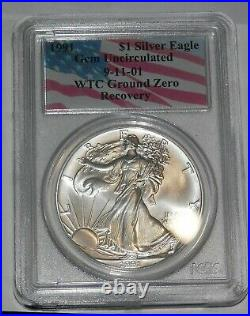 1991 $1 Silver Eagle PCGS GEM UNCIRCULATED 9-11-01 WTC Ground Zero Recovery