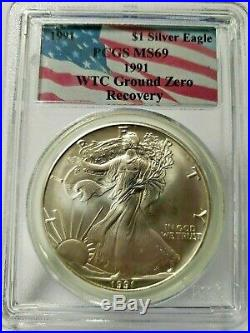 1991 911 American Silver Eagle Wtc Ground Zero Recovery Pcgs Ms69