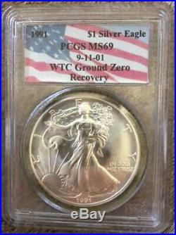 1991 American Silver Eagle PCGS MS 69 9-11-01 WTC Ground Zero Recovery
