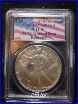 1991 Gem Silver Eagle WTC Ground Zero Recovery World Trade PCGS. RC1398