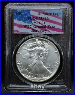 1991 PCGS MS69 9/11 WTC Ground Zero Recovery Silver Eagle 071DUD