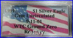 1991 Silver Eagle 9-11-01 WTC Ground Zero Recovery PCGS Gem UNC
