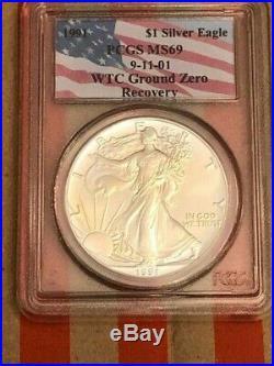 1991 WTC Ground Zero Recovery $1 Silver Eagle PCGS MS69 Near Perfect
