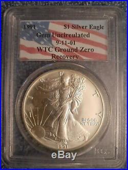 1991 WTC Ground Zero Recovery 911 1 oz American Silver Eagle $1 PCGS