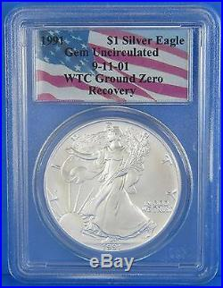 1991 WTC Ground Zero Recovery 911 American Silver Eagle $1 PCGS GEM UNC 1 oz