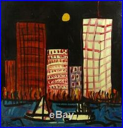 1992 Peter Robert Keil 48x48 Neo-expressionism Painting World Trade Center