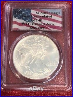 1993 WTC Ground Zero Recovery $1 Silver Eagle PCGS Gem Uncirculated NearPerfect