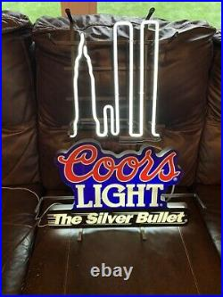 1995 Vintage Rare Coors Light Silver Bullet Neon World Trade Center Twin Towers