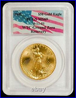 1997 1 oz $50 Gold American Eagle PCGS MS 69 (9-11-01 WTC Ground Zero Label)