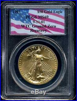 1997 G$50 American Gold Eagle 1 oz MS69 PCGS 72009522 WTC Ground Zero Recovery