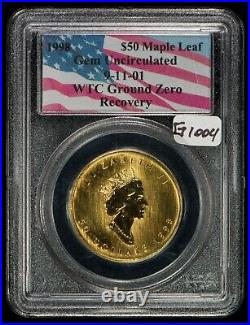 1998 1oz Gold Canada Maple Leaf 911 WTC Ground Zero Recovery -PCGS UNC- G1004