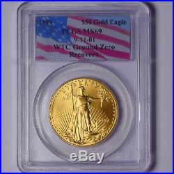 1999 $50 Gold Eagle 1 Oz Pcgs Ms69 9-11 World Trade Center Ground Zero Recovery