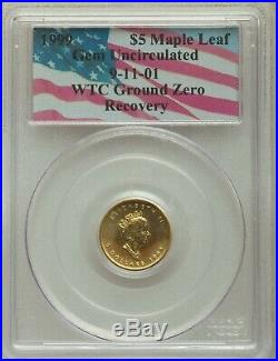 1999 $5 911 Canadian Gold Maple Leaf Wtc Ground Zero Recovery Pcgs Gem