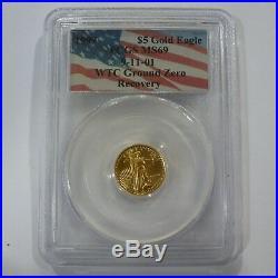 1999 $5 Gold Eagle 1/10 Oz Pcgs Ms69 World Trade Center Ground Zero 9/11/01 Coin