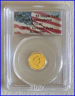 1999 $5 Gold GU Canada Maple Leaf WTC Ground Zero Recovery 9-11 PCGS 1/10 Oz