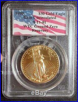 1999 WTC $50 Gold Eagle Ground Zero Recovery PCGS Gem World Trade Center 9/11