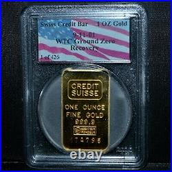 1 Oz Credit Suisse Gold Bar Wtc Ground Zero Recovery Pcgs 9-11 Ozt Trusted