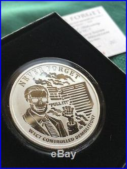1 oz 2017 WTC7 Proof Never Forget #10 Silver Shield 999 WTC 9-11 Twin Towers