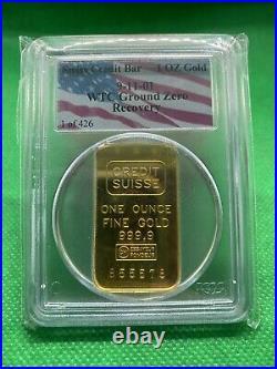 1oz WTC World Trade Center Ground Zero Recovery Swiss Credit Bar 1/426 Fine Gold