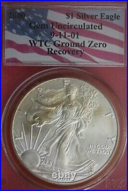 2000 9-11 WTC Ground Zero Recovered Metal Silver American Eagle PCGS OCE 29