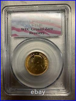 2000 9/11 WTC Ground Zero Recovery 1/4oz S. African Krugerrand Gold PCGS. ASHES