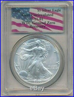 2000 American Silver Eagle-gem Unc-9/11 Wtc Ground Zero-pcgs-ships Free! Inv1