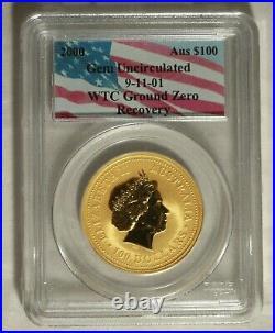 2000 Australian Gold $100 911. World Trade Center Recovery. PCGS Gem