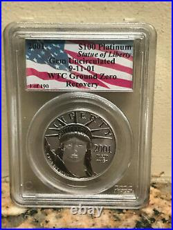 2001 $100 Platinum WTC Ground Zero Recovery 911 PCGS GEM VERY RARE ONLY 190
