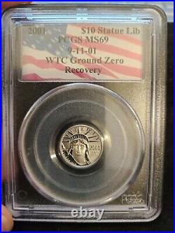 2001 $10 Platinum Statue Of Liberty PCGS MS69 WTC Ground Zero Recovery Coin
