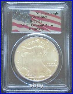 2001 $1 American Silver Eagle. 999 1oz PCGS MS69 WTC Ground Zero Recovery