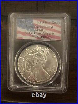 2001 $1 American Silver Eagle PCGS WTC World Trade Center 9/11 Recovery