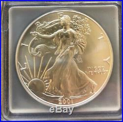 2001 $1 Silver Eagle 9-11-01 WTC Ground Zero Recovery ICG MS 69