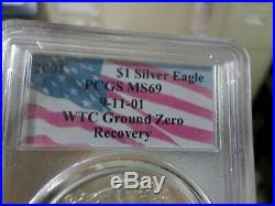 2001 $1 Silver Eagle PCGS MS69 09-11-01 WTC Ground Zero Recovery