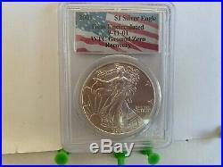 2001 $1 Silver Eagle WTC Ground Zero Recovery PCGS Bright and Shiny 9-11-01
