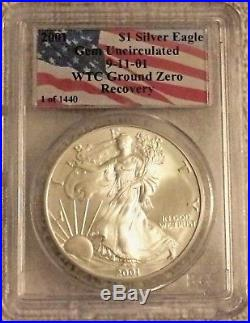 2001 1 of 1440 911 AMERICAN SILVER EAGLE WTC GROUND ZERO RECOVERY PCGS GEM