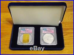 2001 1 of 426 Swiss Gold, Silver Eagle Set PCGS WTC World Trade Center 911