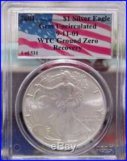2001 1 of 531 911 AMERICAN SILVER EAGLE WTC GROUND ZERO RECOVERY PCGS GEM